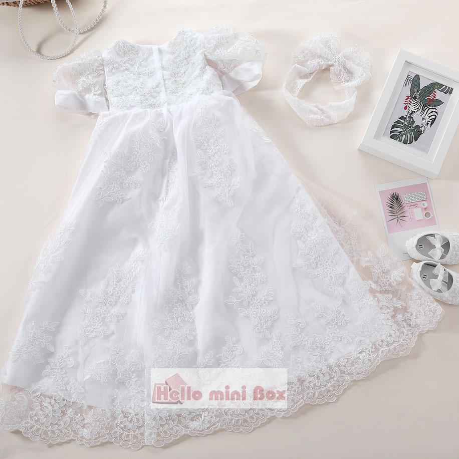 Stor blomst silke Lace håndlavet perle dåb kjole med dekorative bånd