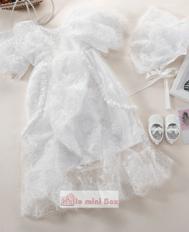 Multi-layer sleeves two fold decorative strips full lace christening dress