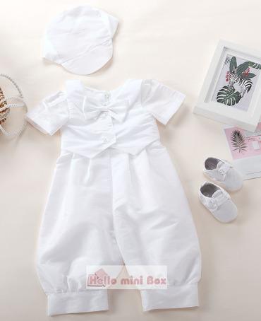 terno de baptizado clássico macacão de três peças menino