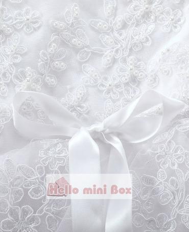 Veľký kvetinový hodváb Čipka ručne vyrobené perleťové krstné šaty s ozdobnou stuhou