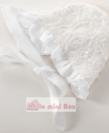 Loto hoja borde bowknot perla decoración bautizo vestido