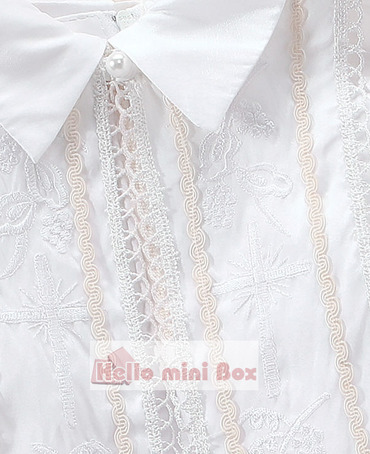 Embroidered three-piece boy's christening suit