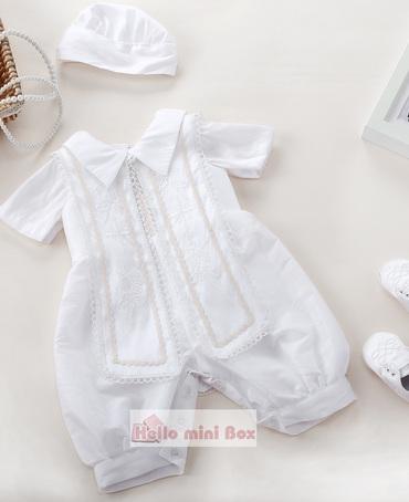 Bestickter dreiteiliger Taufanzug für Jungen