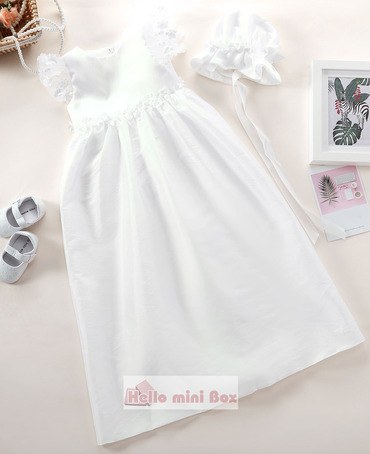 Simple style christening dress with decorative flowers on the waist and sleeves