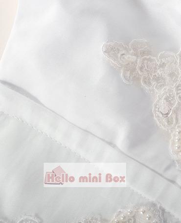 lotusblad kant kant liten bowknot pärla dekoration dopklänning