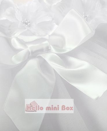 Ένα μικρό μαλακό δίχτυ βατόμουρο φόρεμα με λουλούδια και τόξα στο στήθος