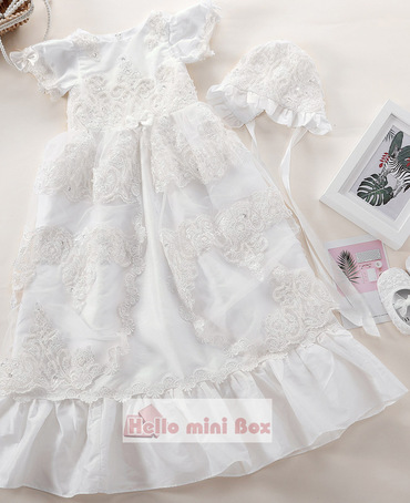 Lotus leaf edge small bowknot pearl decoration christening dress