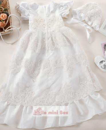 Лотос лист края небольшой bowknot жемчужина украшения крещение платье