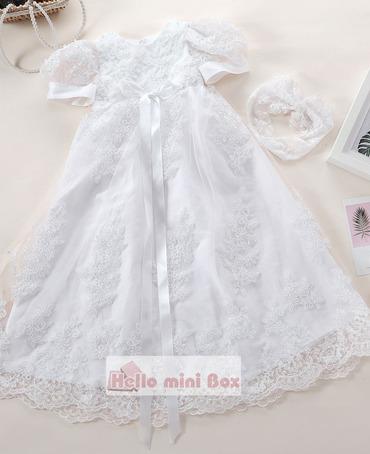 Big flor de seda Lace pérola artesanal vestido de baptizado com fita decorativa