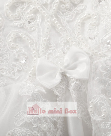 φύλλο λωτού άκρη μικρό bowknot μαργαριτάρι διακόσμηση βάπτισης φόρεμα