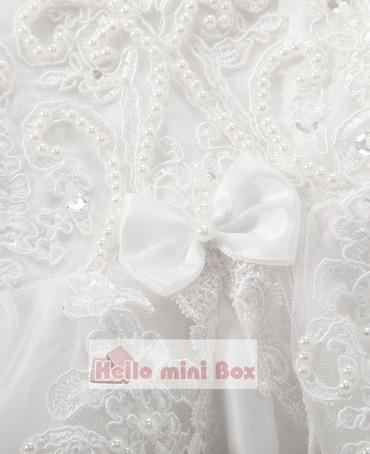 Lotus frunze de margine mici bowknot perla decorare rochie de botez