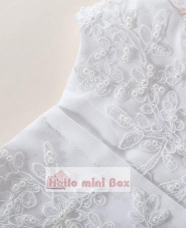 Big flower silk Lace handmade pearl christening dress with decorative ribbon