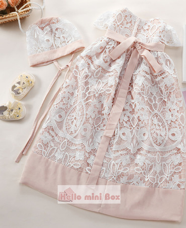 Soft High quality chemical lace christening dress with belts and hat