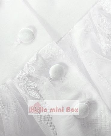 Wielowarstwowe rękawy dwuczęściowe ozdobne paski pełna sukienka do chrztu