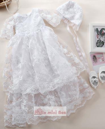 Klasik uzun tam iplik dantel vaftiz elbise ve dantel kap